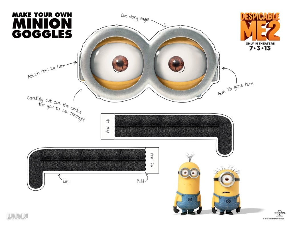 Printable Minion Goggles - Two Eyes