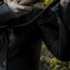 Black Jacket Blue Piping Details