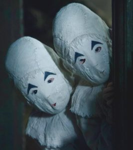 Close up of the Masked Twins from Miss Peregrine's Home for Peculiar Children